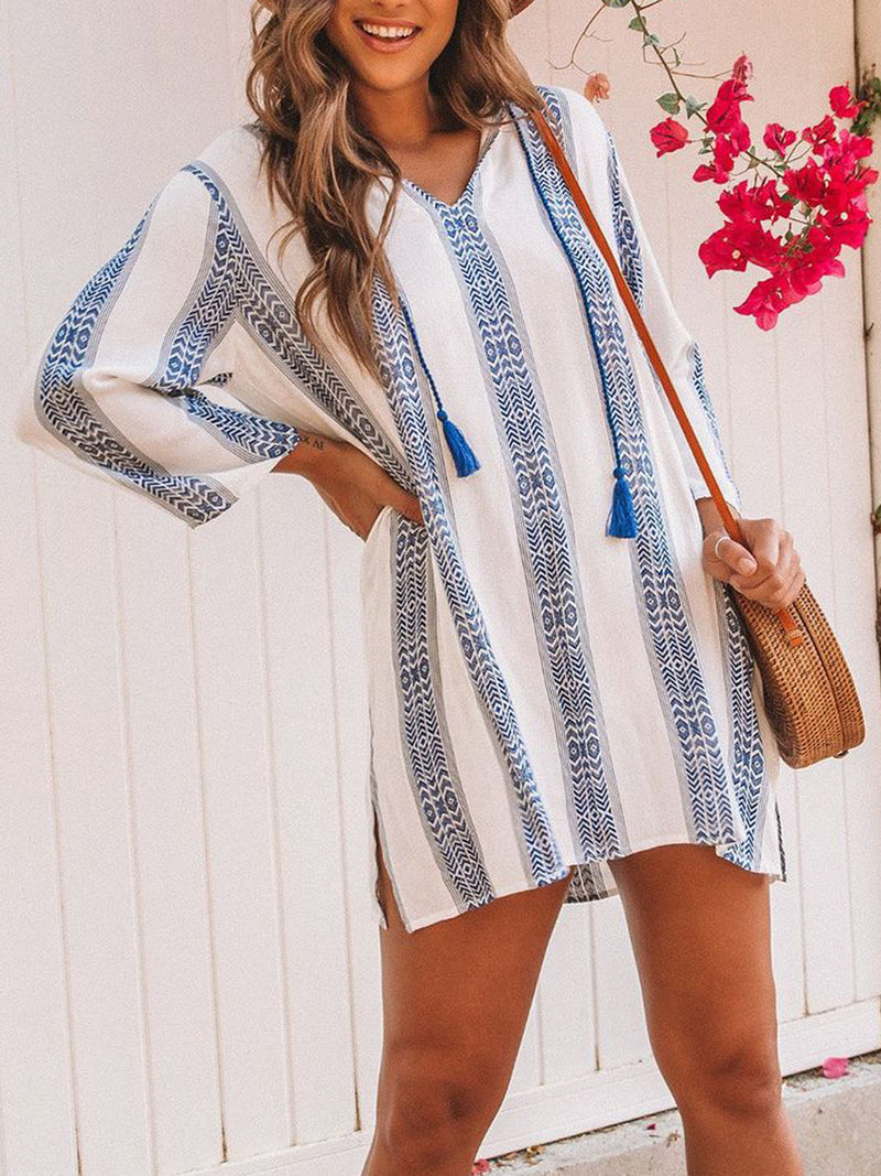 Long Sleeve Striped V Neck Dresses