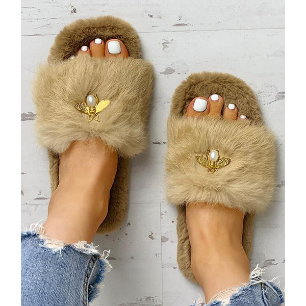 Fluffy Metallic Embellished Open Toe Slippers