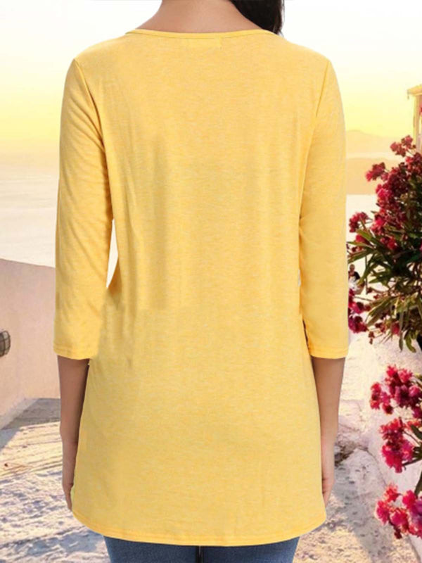Casual Plain V-Neck Asymmetric 3/4 Sleeve Blouse