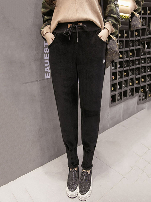 Stylish Fall Winter Solid Casual Pockets Pants