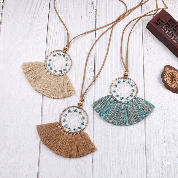 Turquoise Geometric Dream Catcher Long Fringe Necklace