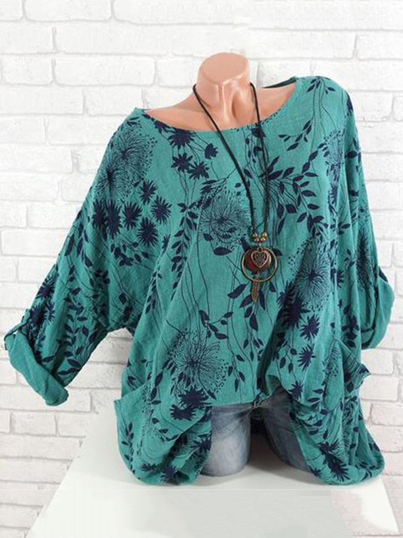 Floral  Crew Neck Linen Printed Long Sleeve Vintage Blouse