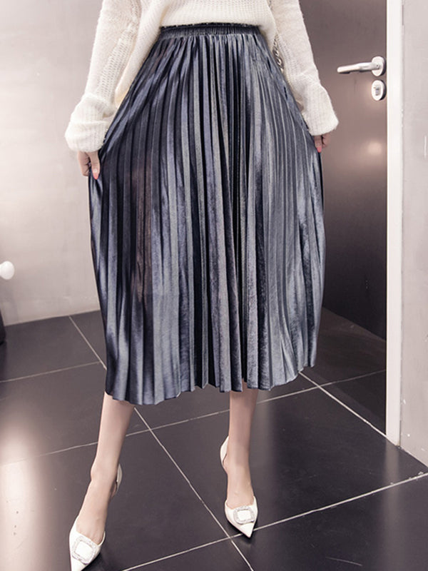Plain Velvet Casual Pleated Skirt