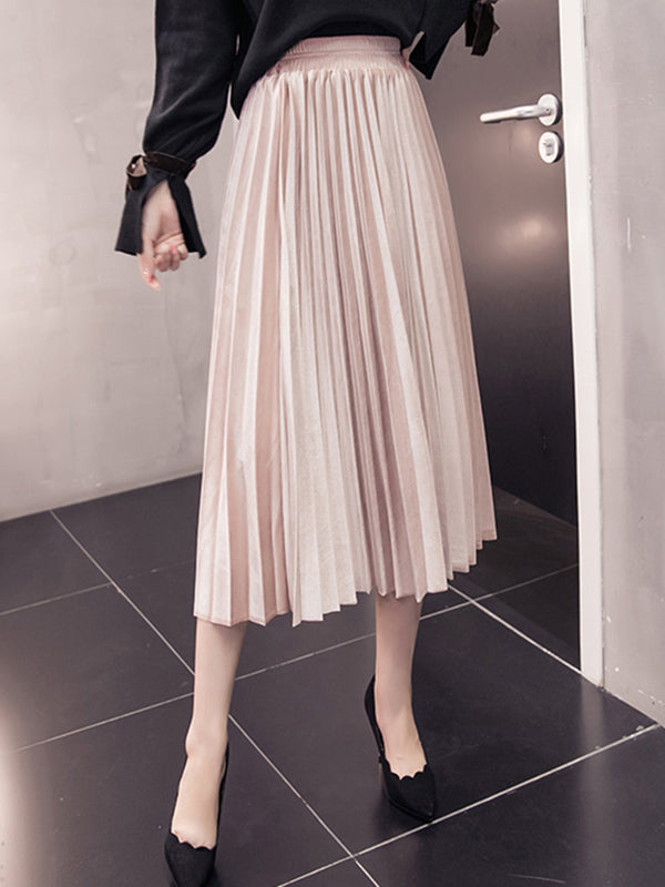 Plain Casual Velvet Pleated Skirt