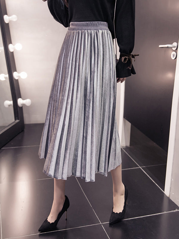Casual Plain Pleated A-line Skirt