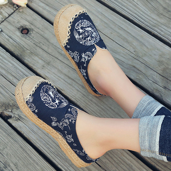 Women Vintage Cotton Flax Mule Slippers