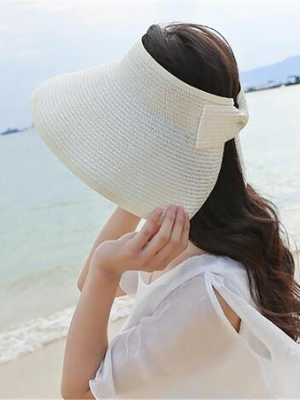 Women Foldable Bowknot Empty Top Wide Brim Beach Sun Straw Hats