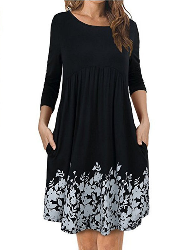 Women Elegant Dress Crew Neck A-line Daytime Cotton-blend Floral Dress