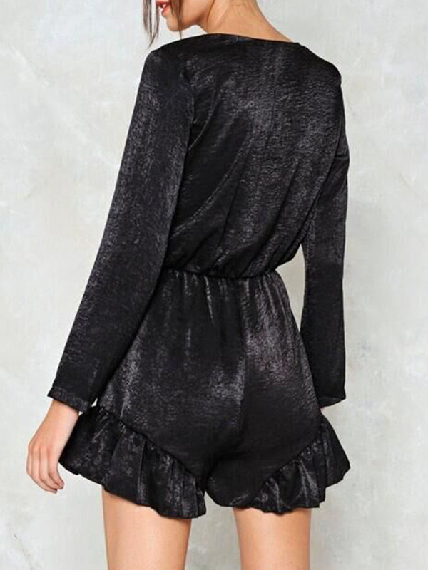 Velvet Deep V-Neck Ruffled Sexy Jumpsuit