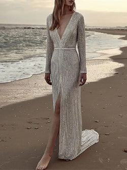 Silver V Neck Long Sleeve Sequins embroidery Maxi Beach Dresses
