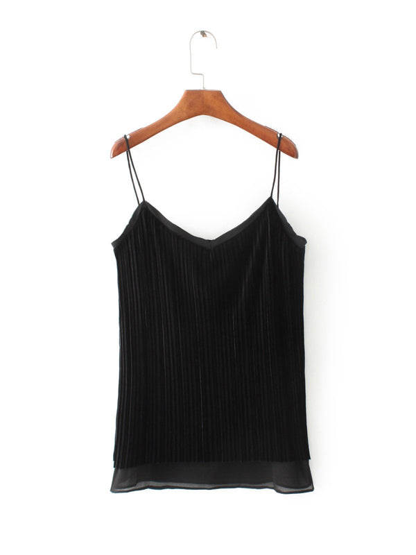 Such a Doll Black Pleated Velvet Cami