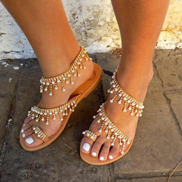 Women Plus Size Imitation Pearls Sandals