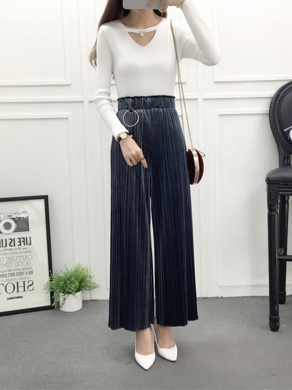 Women Retro Elastic Waist Velvet Pleated Wide Leg Pants