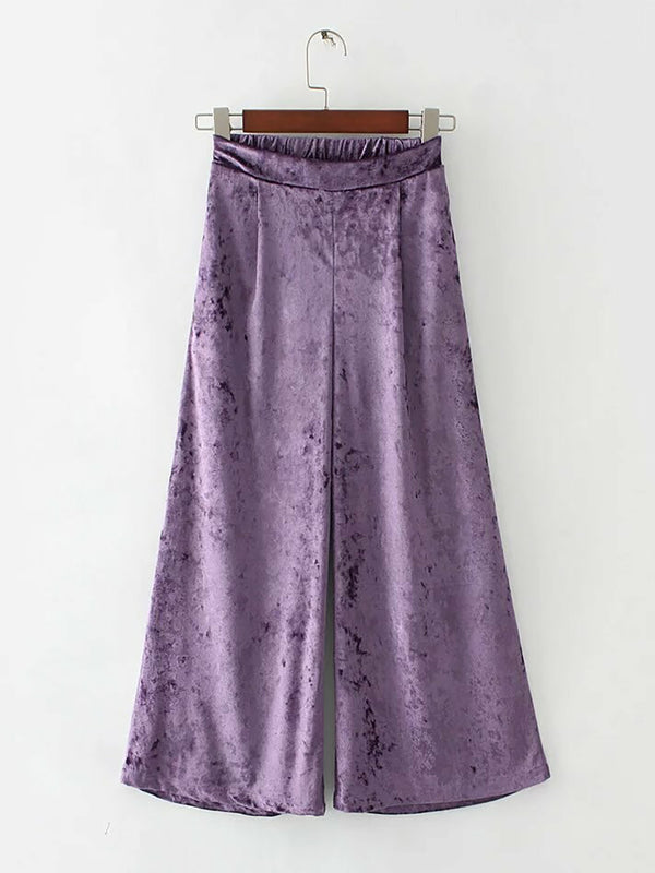 Runway Ready Solid Velvet Wide Leg Pants