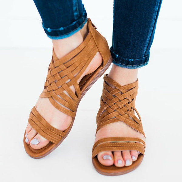 Women Leather Sandals Casual Zipper Shoes