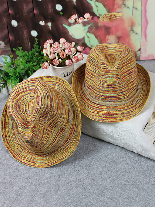 Womens Colorful Hemp Rope Summer Beach Bohemian Straw Hats