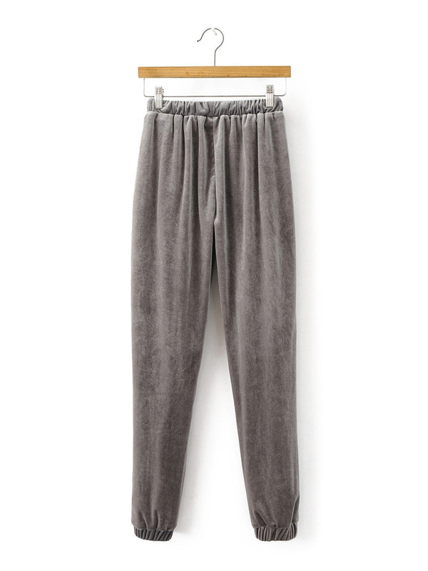 Love for Gray Pockets Velvet Jogger Pants