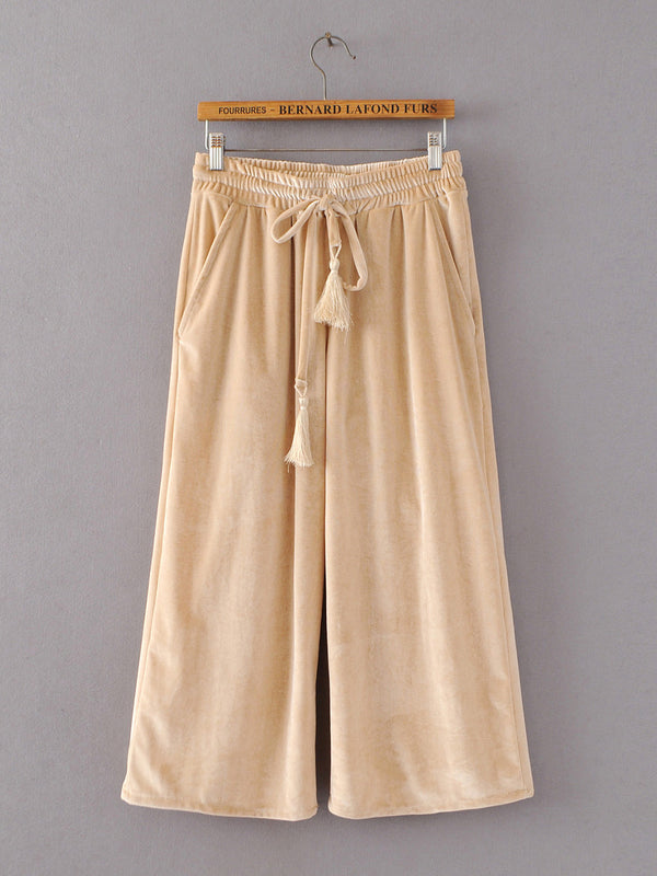 Outspoken Drawstring Pockets Wide Leg Pants