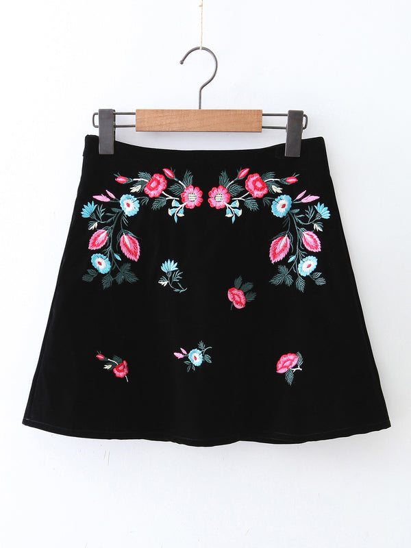 Weekend Warrior Black Embroidered Velvet Skirt