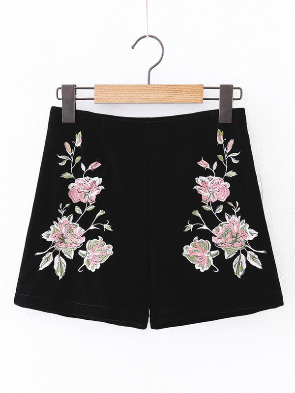 Get Enough Black Velvet Embroidered Floral Shorts