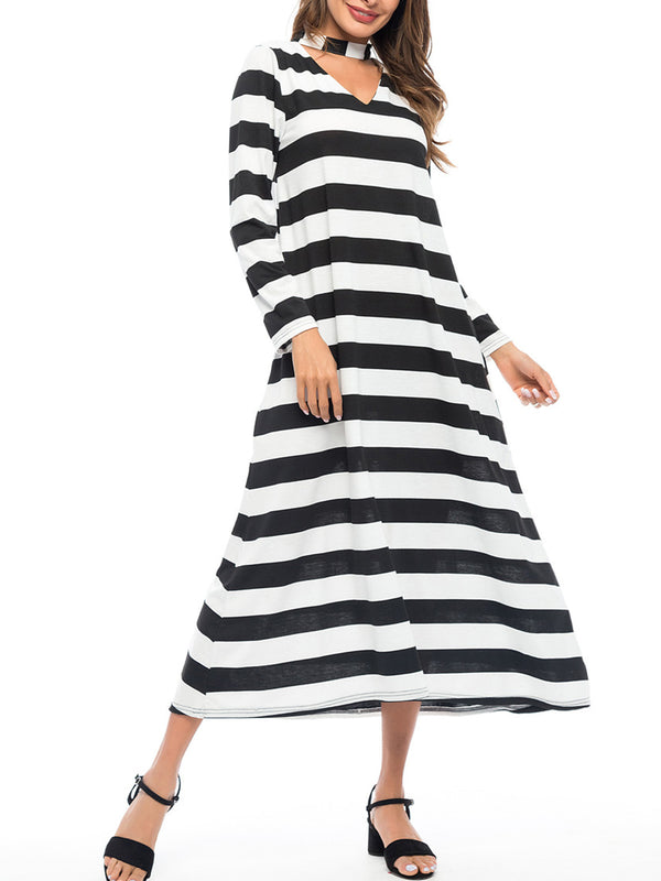 Choker Neck Black-White Casual Maxi Dress