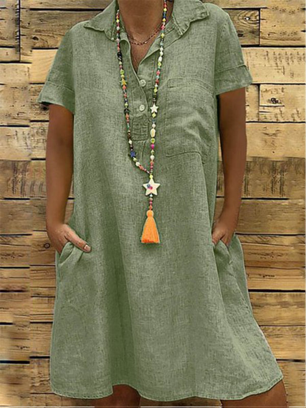 Holiday Plain Turn-Down Collar Buttoned Short Sleeve Pockets Dress