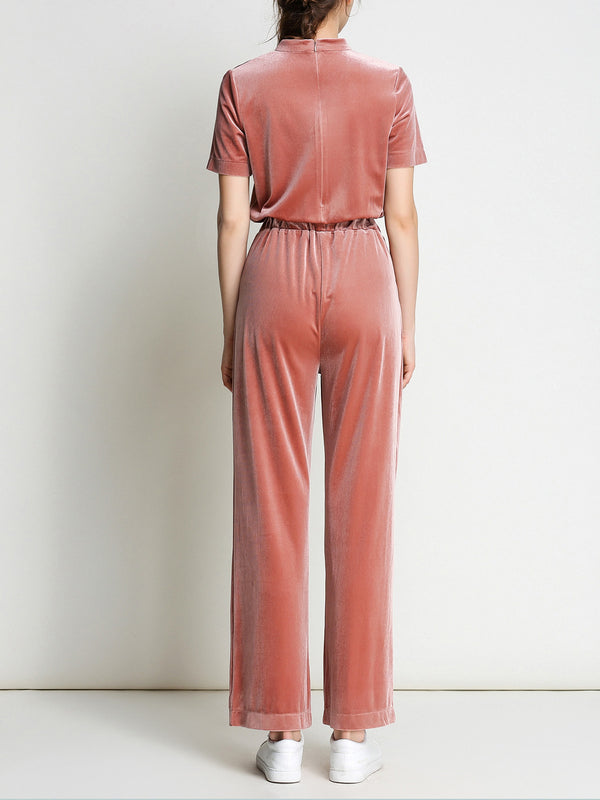 Coral Solid Short Sleeve Gathered Jumpsuit
