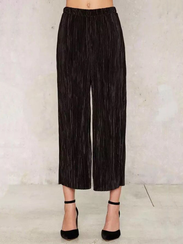 Black Solid Pleated Velvet Wide Leg Pants