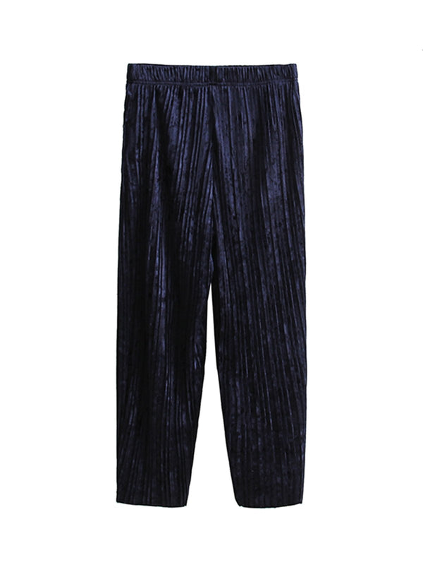 Navy Blue Velvet Solid Pleated Wide Leg Pants