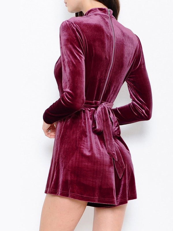 Burgundy Sexy Solid H-line Plunging Neck Romper