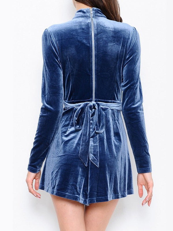 Blue H-line Long Sleeve Plunging Neck Zipper Romper