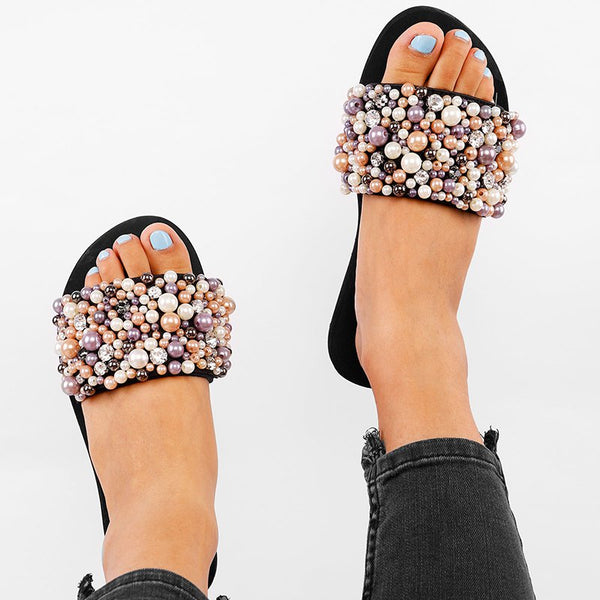 Women Pearls Embellished Single Strap Flat Slippers
