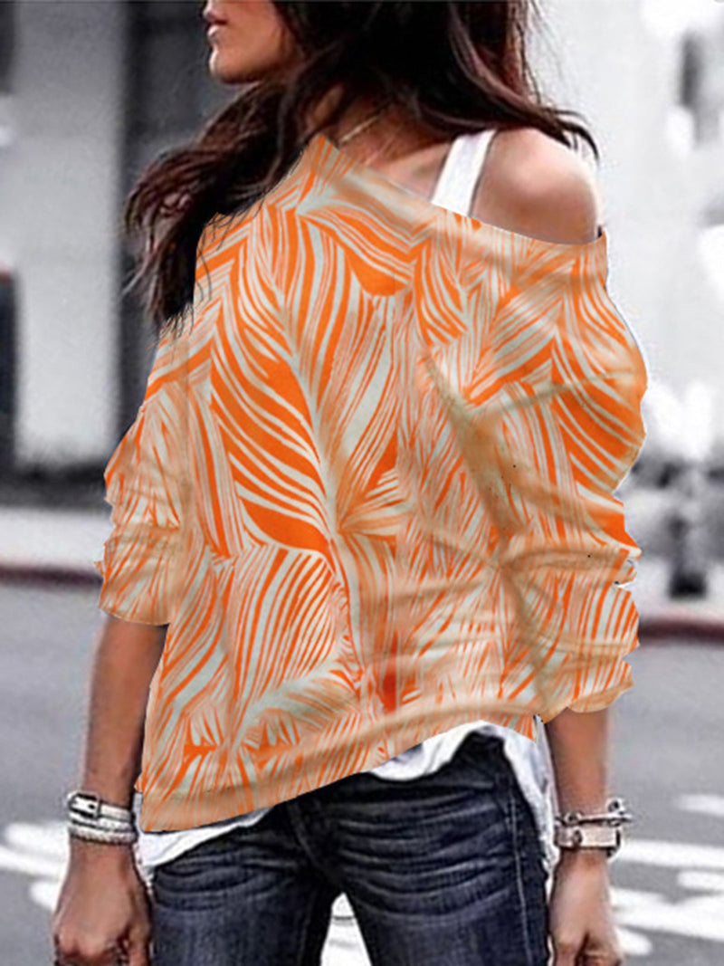 Casual Printed Vintage Abstract Blouse