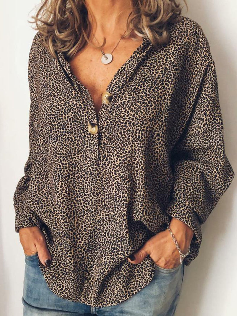 Plus Size Casual Leopard Print V Neck Shirts & Tops