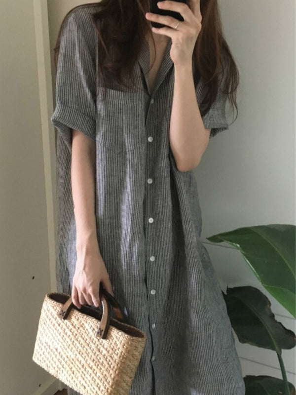 Striped short-sleeved shirt dress