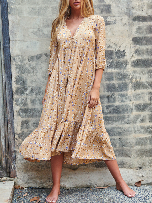 Yellow Polka Dots Half Sleeve V Neck Printed Dresses