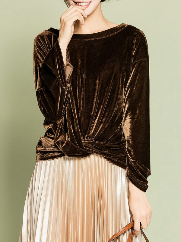 Brown Bateau/boat Neck Casual Velvet Solid Long Sleeved Top