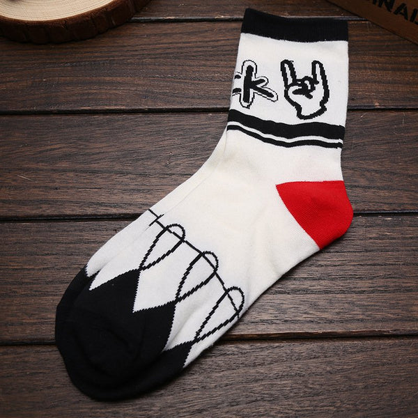 Statement Color-block Unisex Mid-calf Letter Socks
