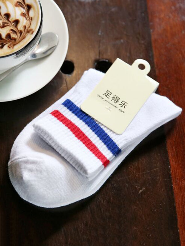 Casual Stripes Thermal Cotton-blend Sock
