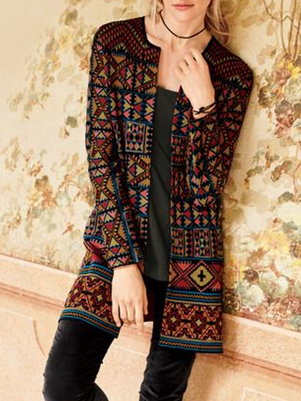 Multicolor Long Sleeve Casual Outerwear