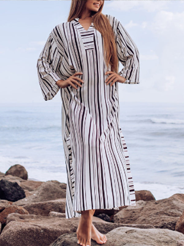 Plus Size Stripes Vintage V Neck Long Sleeve Dresses