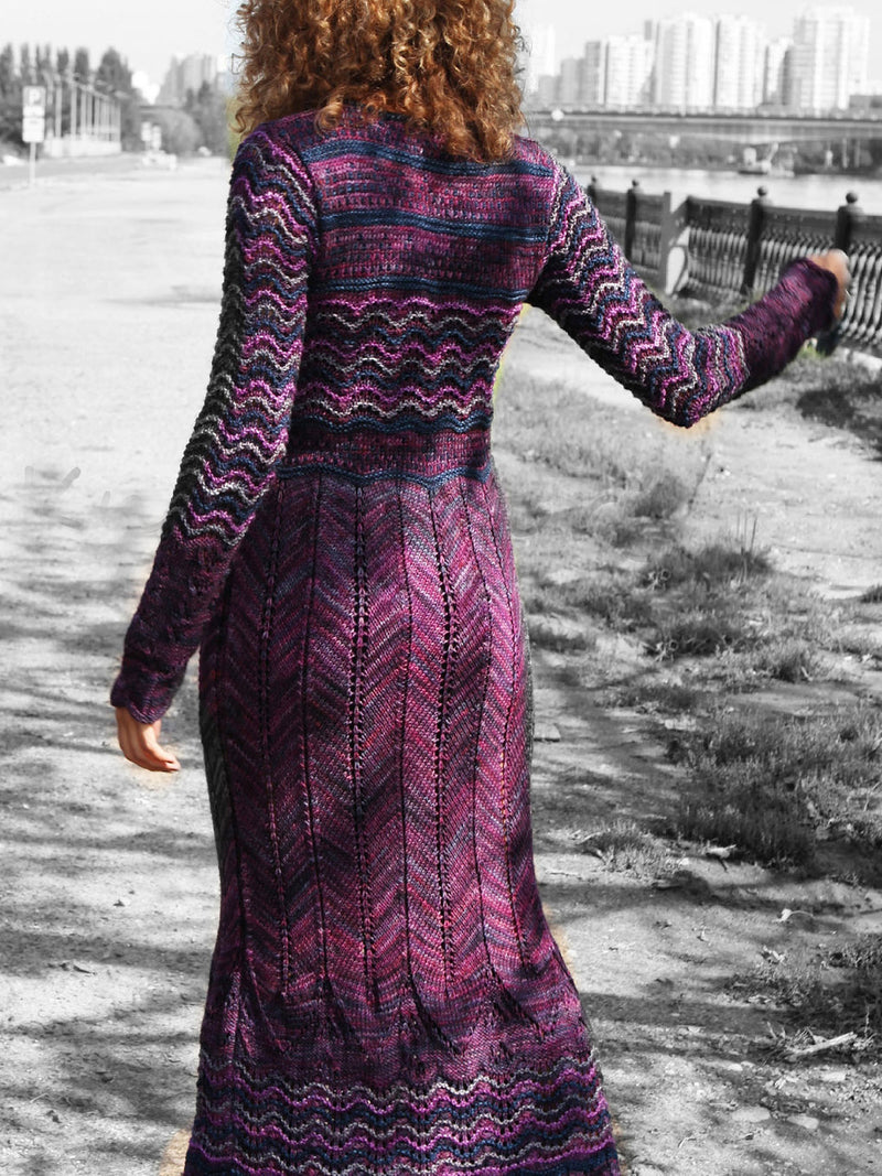 Purple Crew Neck Long Sleeve Knitted Dresses