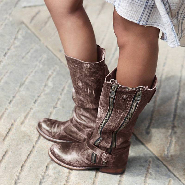 Vintage Mid-Calf Side Zipper Daily Boots