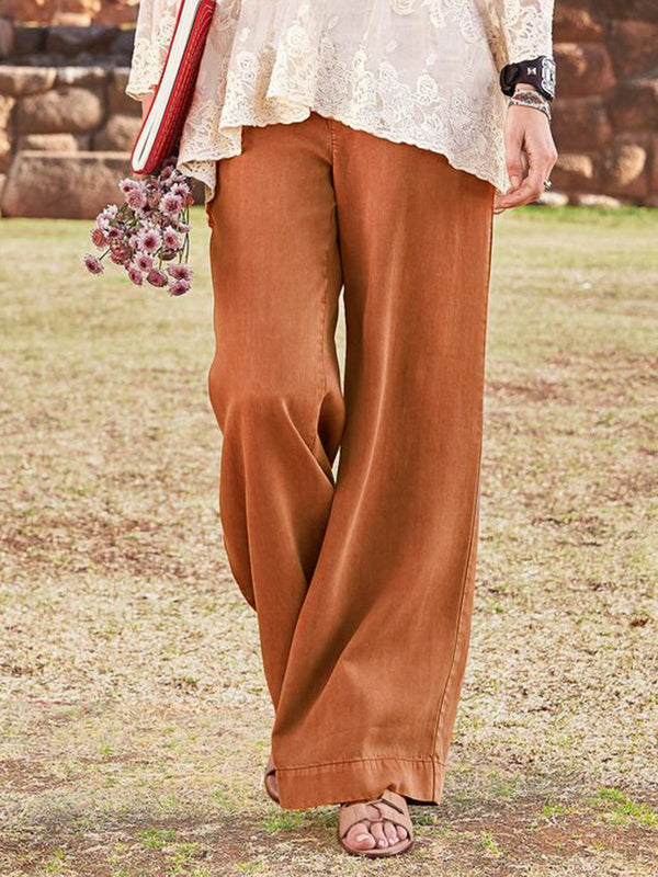 Women Casual Pockets Summer Solid Pants