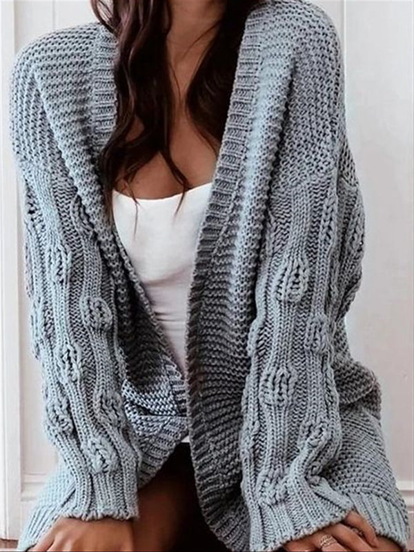 Autumn Casual Basic Blue Knitted Coat