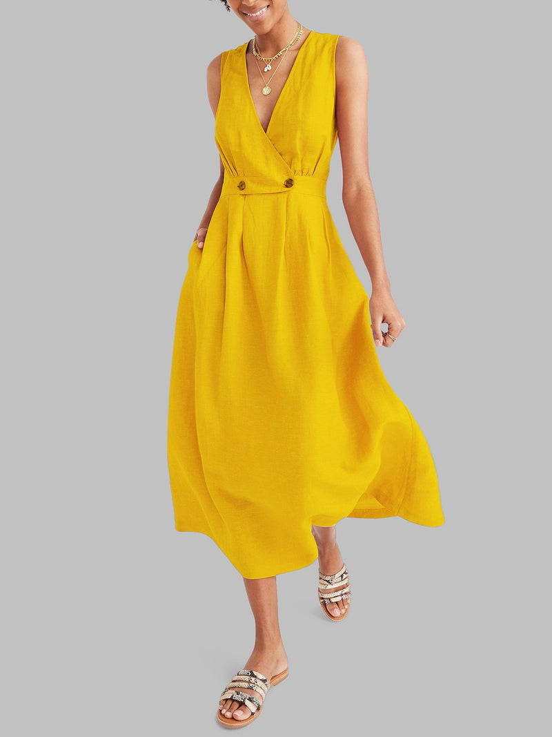 Women Summer Buttoned Maxi Dresses A-Line Daily Plain Dresses