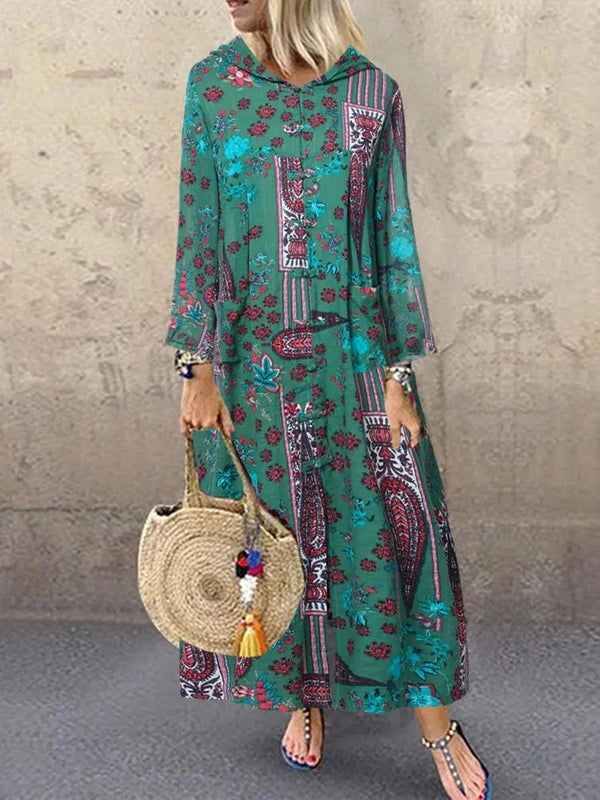 Floral Printed Vintage Hoodie Pockets WOmen Long Dress