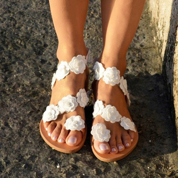 White Summer Casual Flower Pu Flat Heel Shoes