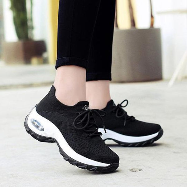 Round Toe Breathable Elastic Cloth Sneakers Platform Lace-up Women Sneakers