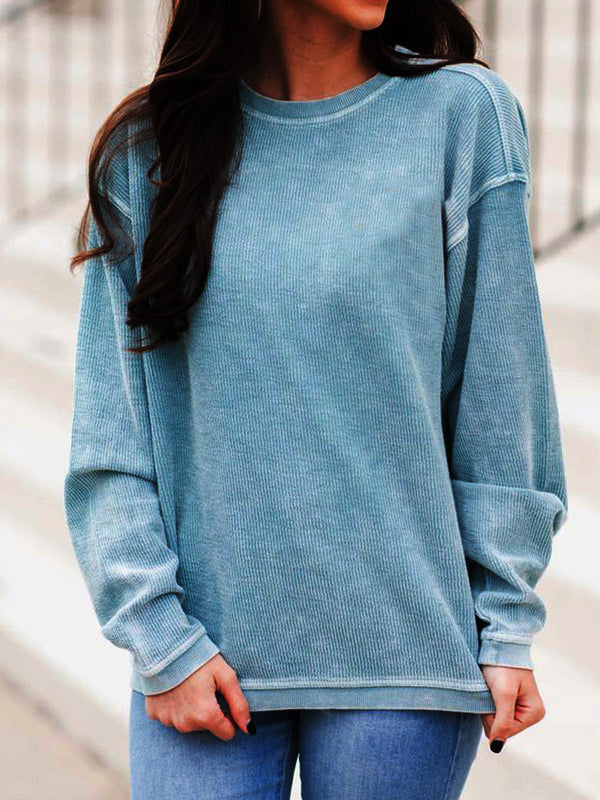 Blue Casual Solid Crew Neck Shirts & Tops